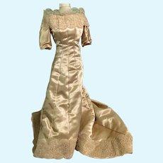 Wonderful Old Satin Lace Doll Dress Gown W/ Train Fashion Doll