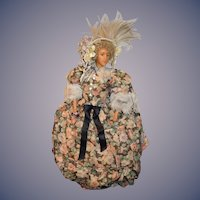 Wonderful Old Wax Doll Fab Clothes Hoop Skirt Fashion Doll Napolien III 1857 Written on Tag
