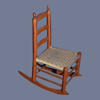 Vintage Doll Miniature Wood Rocking Chair Woven Seat Dollhouse