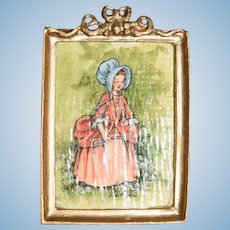 Vintage Doll Water Color Painting Miniature Dollhouse Joan Mitchell Signed