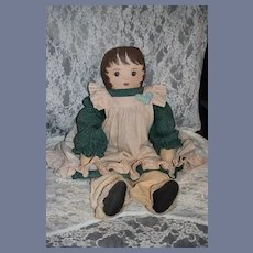 "Vintage Doll Oil Cloth Artist Doll Large 29"" Tall"
