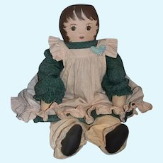 "Vintage Doll Oil Cloth Artist Doll Large 29"" Tall"