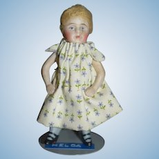 Antique Doll Miniature All Bisque Jointed Swivel Neck French Loop