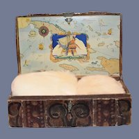 Old Doll Litho Dome Trunk W/ Doll Child Fur Hat and Muff