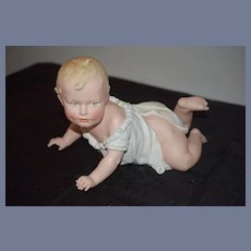 """Antique HUGE Heubach Piano Baby 7"""" Tall Crawling Baby All Bisque Figurine"""