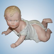 "Antique HUGE Heubach Piano Baby 7"" Tall Crawling Baby All Bisque Figurine"
