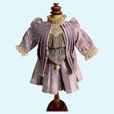 Vintage Doll Dress Petite Doll Lavender Drop Waist Fancy Lace trim High Collar