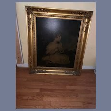 Old Huge Oil Painting Little Girl Copy of Famous Painting Gilt Frame Ornate