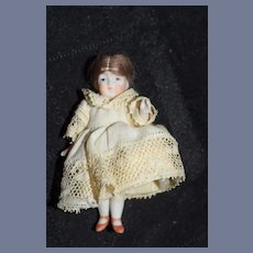 Antique Doll Miniature Dollhouse All Bisque Jointed  Strapped Shoes