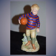Old Heubach Boy Playing Football Figurine Doll