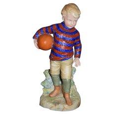 Old Heubach Boy Playing Football Figurine Doll