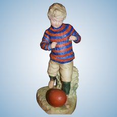 Antique Doll Figurine Boy W/ Football Heubach All Bisque Piano Baby