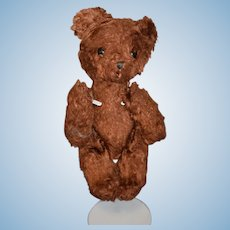 Old Miniature Little Brown Bear W/ Glass Eyes Jointed Miniature