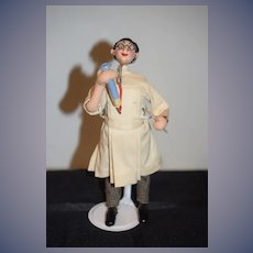 Vintage Cloth Doll Klumpe Roland Doctor w/ Accessories Charming