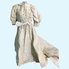 Gorgeous Hand Made Doll Dress Long Train Covered Buttons Faux Pearls