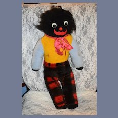 Old Golliwog Black Cloth Doll Large Size Googly Eyes