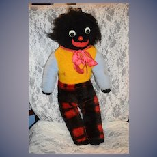 Old Golliwog Black Cloth Doll Large Size Googly Eyes