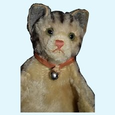 Old Cat Mohair Puppet Glass Eyes Kitten Stuffed Animal