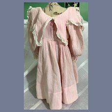 Wonderful Doll Dress Pink Fancy Collar Lace Trim Vintage