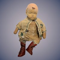 Old Unusual Cloth and Composition Character Doll Jointed Cloth Body