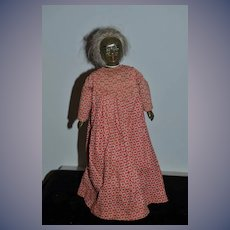Old Black Doll Cloth and Composition Unusual Lady Doll