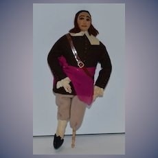 Old Doll Cloth Character Artist Doll Pirate W/ Wooden Leg