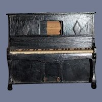 Antique Doll Miniature Player Piano Wood & Rolling paper Dollhouse