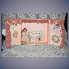 Antique Doll W/ Artist Trousseau & Artist Miniatures Wonderful Dollhouse Display