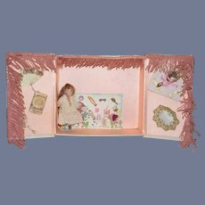 Antique Doll W/ Artist Trousseau & Artist Miniatures Wonderful Dollhouse Display