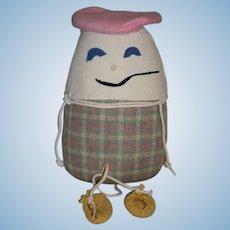 Wonderful Doll Vintage Cloth Humpty Dumpty Heavy Felt Features