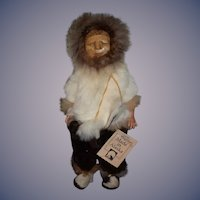 Vintage Doll MEMELUK Eskimo Doll Carved Wood Face Fur Clothes W/ Tag