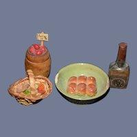 Old Miniature Doll Dollhouse Food Glass Scotch Bottle Apples Basket Dollhouse Accessories