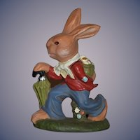 Vintage Marolin Papier Mache German Rabbit W/ Tag