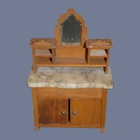 Old Doll Miniature Marble Top Server Chest W/ Mirror Dollhouse
