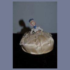 Antique Doll Half Doll China Head Pincushion