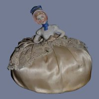 Antique Doll Half Doll China Head Pincushion