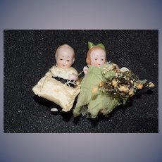 Antique Doll Miniature All Bisque Jointed Original Clothes Pink Tint Bridesmaid and Groomsmen W/ Ring