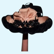 Fancy Black Velvet Doll Bonnet Hat W/ Black Beads Feather and Ribbon Fashion Doll