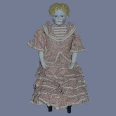 """Antique Doll China Head Doll W/ Fancy Two Piece outfit Doll Dress Top Skirt 26"""" Tall"""