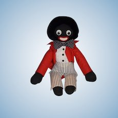 Vintage Doll English Golliwog Black Cloth Doll