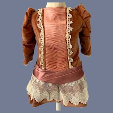 Vintage Doll Dress Velvet Drop Waist Lace Hand Made Charming