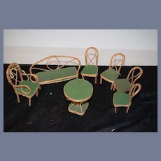 Old Doll Bentwood Miniature Covered Furniture Set Table Chairs Settee Dollhouse