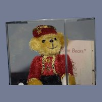 "Vintage Artist Teddy Bear Miniature Bellhop "" We Three Bears"" Sammie C By Sherri Dodson W/ Papers and Case"