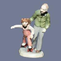 Vintage Goebel Olszewski Girl on Skates w/ Gradfather Miniature Dollhouse