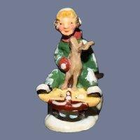 Vintage Doll Miniature Figurine Goebel Olszewski Sleigh Rider In Original Box