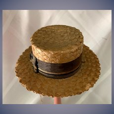 Wonderful Old Straw Doll Italian Hat Bonnet