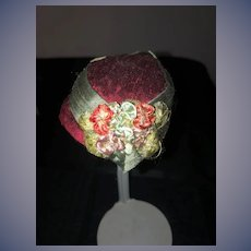 Old Doll Bonnet Hat Fashion Doll Hand Made