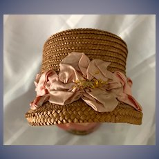 Old Doll Straw Bonnet Hat Fancy Trim Wonderful Shape