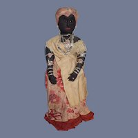Old Black Cloth Doll Rag Doll Sculpted and Sewn Features Unusual