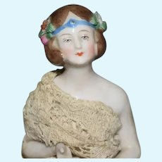Antique Doll China Head Half Doll Arms Away Pin Cushion Fancy Gown